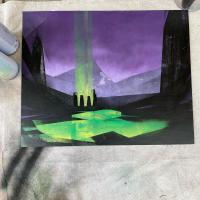 Spray paint on canvas painting of standing stones