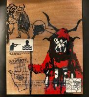 Mixed media on board painting depicting a krampus overlain by technical drawings