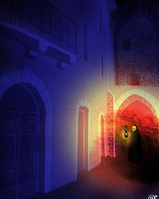 Gold mask figure with lantern under arches of a small building at right digital painting